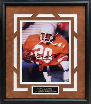 EARL CAMPBELL AUTOGRAPHED HAND SIGNED CUSTOM FRAMED UT LONGHORNS 8X10 PHOTO