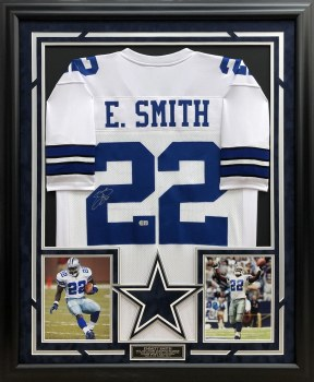 EMMITT SMITH - COWBOYS SIGNED AND CUSTOM FRAMED JERSEY