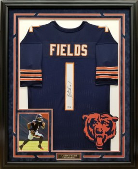 JUSTIN FIELDS AUTOGRAPHED HAND SIGNED CUSTOM FRAMED CHICAGO BEARS JERSEY