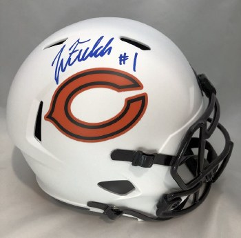 JUSTIN FIELDS AUTOGRAPHED HAND SIGNED CHICAGO BEARS LUNAR ECLIPSE REPLICA HELMET