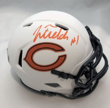 JUSTIN FIELDS AUTOGRAPHED HAND SIGNED CHICAGO BEARS LUNAR ECLIPSE MINI HELMET