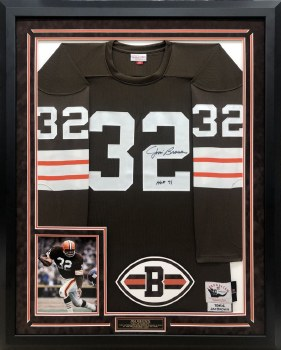 JIM BROWN AUTOGRAPHED HAND SIGNED AND CUSTOM FRAMED CLEVELAND BROWNS MITCHELL & NESS JERSEY