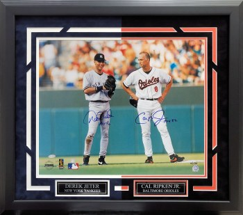 DEREK JETER & CAL RIPKEN AUTOGRAPHED HAND SIGNED AND CUSTOM FRAMED 16X20 PHOTO