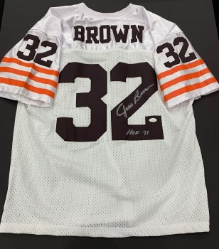 JIM BROWN - BROWNS UNFRAMED SIGNED JERSEY