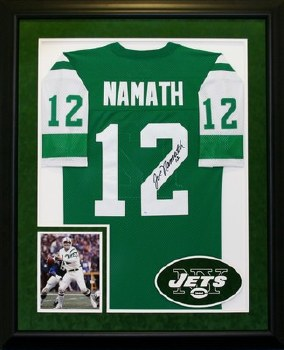 JOE NAMATH SIGNED AND CUTOM FRAMED JETS JERSEY