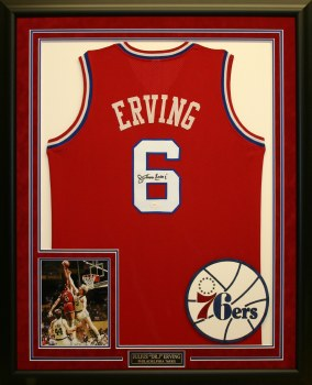 JULIUS ERVING - 76ERS FRAMED JERSEY
