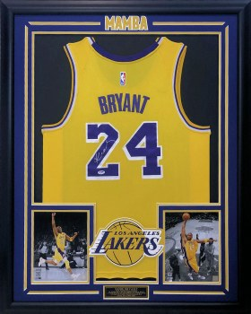 KOBE BRYANT AUTOGRAPHED HAND SIGNED CUSTOM FRAMED LA LAKERS YELLOW #24 JERSEY