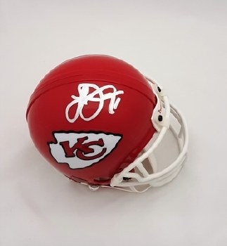 SIGNED LARRY JOHNSON CHIEFS MINI HELMET