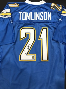 LADANIAN TOMLINSON AUTOGRAPHED HAND SIGNED CHARGERS JERSEY