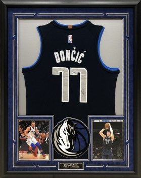 LUKA DONCIC AUTOGRAPHED HAND SIGNED AND CUSTOM FRAMED DALLAS MAVERICKS JERSEY