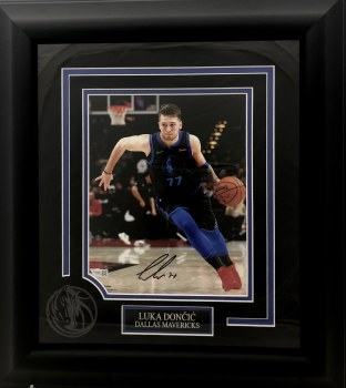 LUKA DONCIC MAVERICKS AUTOGRAPHED HAND SIGNED & CUSTOM FRAMED 8X10 PHOTO