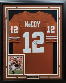 COLT MCCOY - UT SIGNED & CUSTOM FRAMED JERSEY