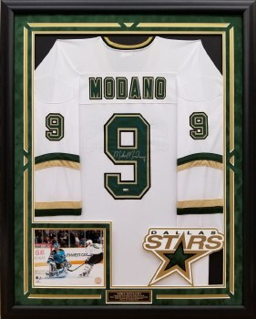 MIKE MODANO AUTOGRAPHED HAND SIGNED CUSTOM FRAMED DALLAS STARS JERSEY