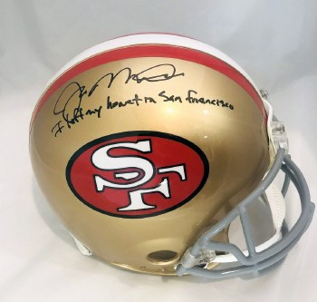 "JOE MONTANA AUTOGRAPHED HAND SIGNED 49ERS FULL SIZE AUTHENTIC HELMET INSCRIBED ""I LEFT MY HEART IN SAN FRANCISCO"""