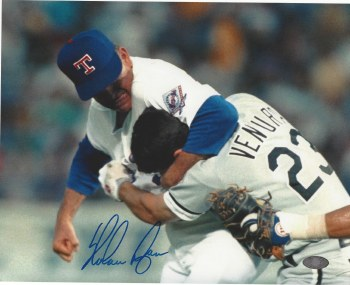 "NOLAN RYAN AUTOGRAPHED HAND SIGNED TEXAS RANGERS 8X10 ""FIGHT"" PHOTO"