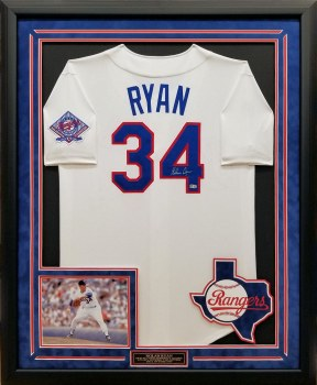 NOLAN RYAN AUTOGRAPHED HAND SIGNED CUSTOM FRAMED TEXAS RANGERS JERSEY