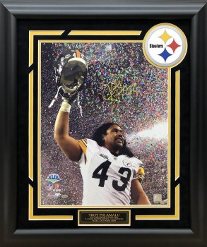 TROY POLAMALU AUTOGRAPHED HAND SIGNED CUSTOM FRAMED PITTSBURGH STEELERS 16X20 PHOTO