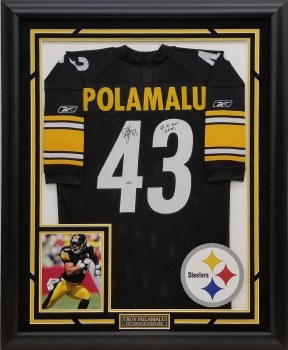 TROY POLAMALU AUTOGRAPHED HAND SIGNED CUSTOM FRAMED PITTSBURGH STEELERS JERSEY