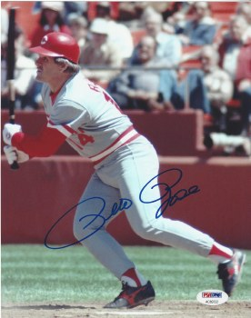 PETE ROSE AUTOGRAPHED HAND SIGNED UNFRAMED REDS 8X10