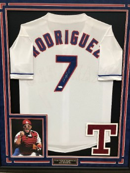 PUDGE RODRIGUEZ - RANGERS FRAMED JERSEY