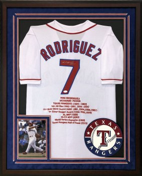 "IVAN ""PUDGE"" RODRIGUEZ AUTOGRAPHED HAND SIGNED AND CUSTOM FRAMED TEXAS RANGERS JERSEY"