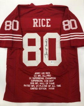 JERRY RICE AUTOGRAPHED HAND SIGNED 49ERS STAT JERSEY