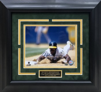 RICKEY HENDERSON AUTOGRAPHED HAND SIGNED CUSTOM FRAMED OAKLAND AHTLETICS 8X10 PHOTO