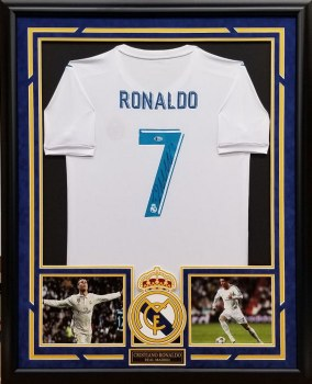 CRISTIANO RONALDO AUTOGRAPHED HAND SIGNED CUSTOM FRAMED REAL MADRID JERSEY