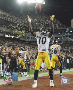 SANTONIO HOLMES AUTOGRAPHED HAND SIGNED STEELERS 8X10 PHOTO