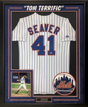 TOM SEAVER AUTOGRAPHED HAND SIGNED AND CUSTOM FRAMED NEW YORK METS JERSEY
