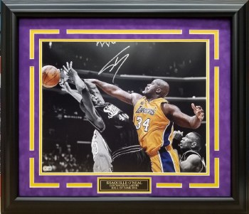 SHAQUILLE ONEAL AUTOGRAPHED HAND SIGNED LOS ANGELES LAKERS FRAMED 16X20 PHOTO