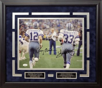 ROGER STAUBACH & TONY DORSETT DALLAS COWBOYS AUTOGRAPHED HAND SIGNED AND CUSTOM FRAMED 11X14 PHOTO
