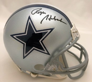 ROGER STAUBACH AUTOGRAPHED HAND SIGNED DALLAS COWBOYS MINI HELMET