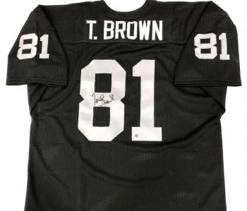 TIM BROWN AUTOGRAPHED HAND SIGNED RAIDERS JERSEY