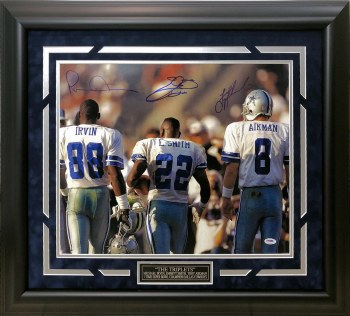 DALLAS COWBOYS TRIPLETS AUTOGRAPHED HAND SIGNED CUSTOM FRAMED 16X20 PHOTO