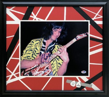 EDDIE VAN HALEN AUTOGRAPHED HAND SIGNED CUSTOM FRAMED 11X14 PHOTO