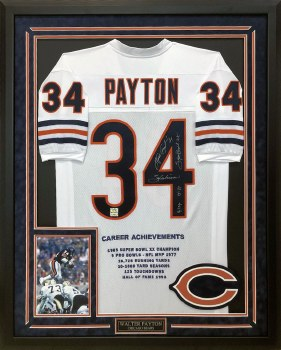 WALTER PAYTON AUTOGRAPHED HAND SIGNED CUSTOM FRAMED CHICAGO BEARS JERSEY
