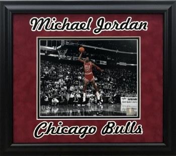 MICHAEL JORDAN UNSIGNED CUSTOM FRAMED 8X10 PHOTO