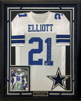 EZEKIEL ELLIOTT AUTOGRAPHED HAND SIGNED AND CUSTOM FRAMED DALLAS COWBOYS JERSEY