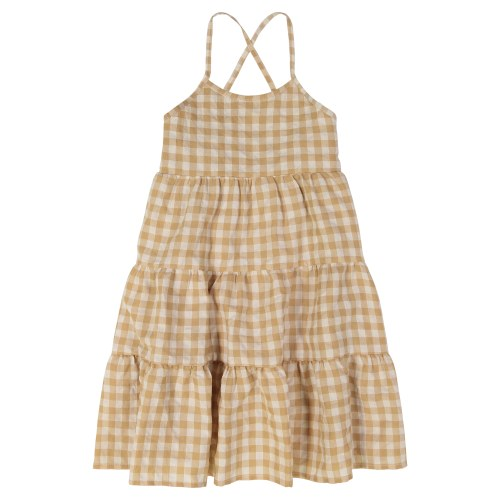 GINGHAM TIERED JUMPER TAN 9