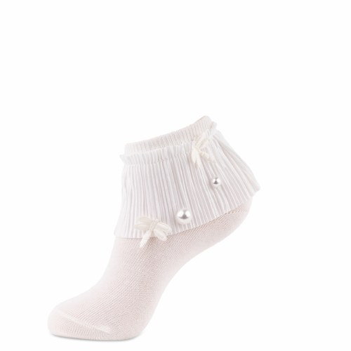 PLEATED LACE ANKLET IVR 0-4