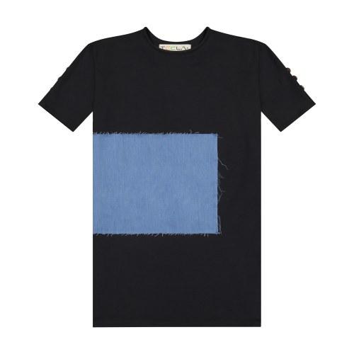 RECTANGLE PATCH DRESS BLK 7