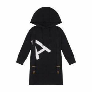 """A"" Hoodie Dress BLK 3"