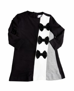 BOWS DRESS  BLK/IVO 4