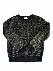 CABLE KNIT SWEATER BLK/GOL 2