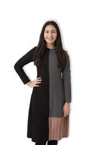 COLOR BLOCK DRESS BLK/GY XXS