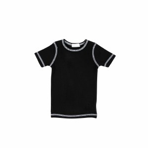 CONTRAST RIBBED TEE S/S BLK 3