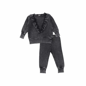 DENIM RUFFLE SET BLK/WA 2T