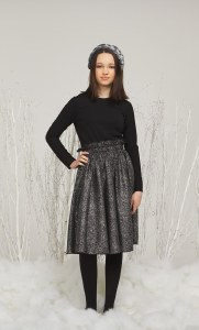 FOIL PRINT DRESS BLK/SIL 12