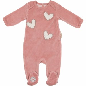 HEART PATCH FOOTIE ROS/TAN 3M